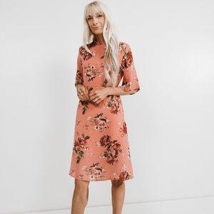 Bell sleeve mock neck floral dress
